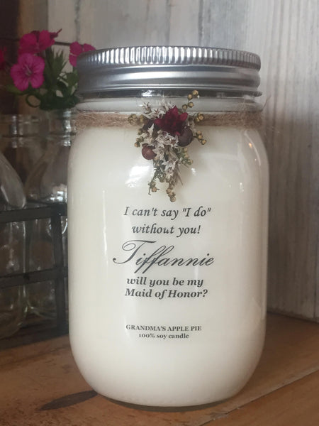 decorated bridesmaid candle gift