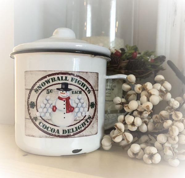 Christmas 8 oz. soy candle in white enamelware cup with lid