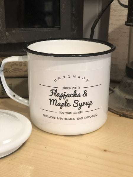 8 oz. soy candle in white enamelware cup with lid