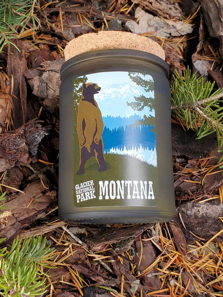 Glacier National Park poster design candle - 12 oz. green glass jar with cork top