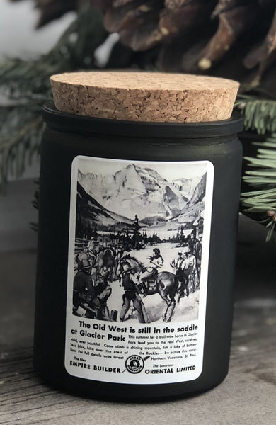Glacier National Park advertisement candle - 12 oz. green glass jar with cork top