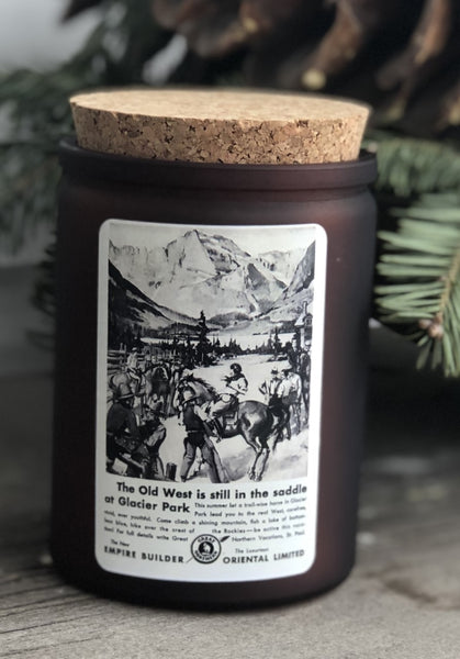 Glacier National Park advertisement candle - 12 oz. amber glass jar with cork top