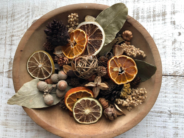 Guest Room potpourri in a wood bowl
