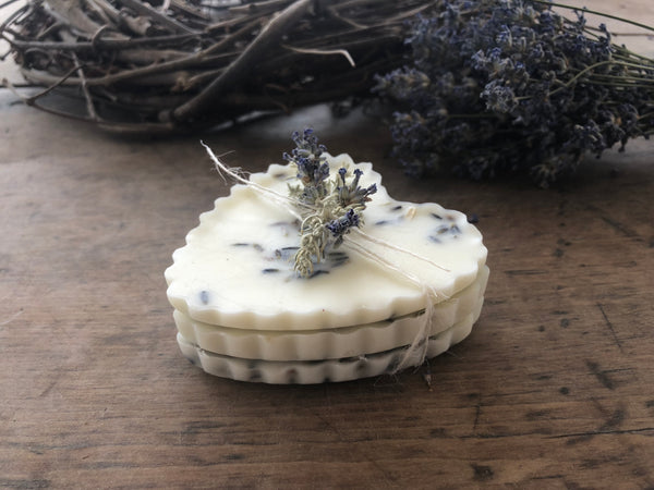 stacked lavender wax hearts