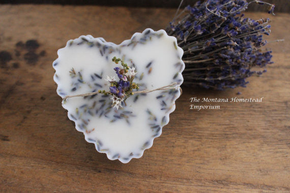Lavender scented beeswax heart tarts