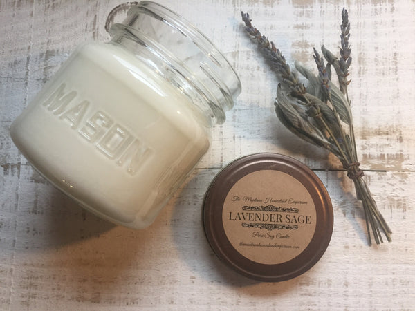 Lavender Sage pure soy candle in square mason jar