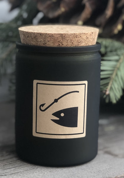 fishing access sign soy jar candle