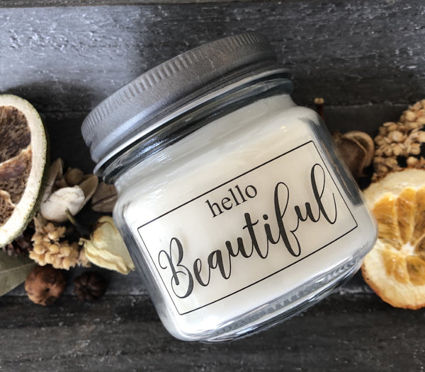 Hello Beautiful  6 oz soy jar candle