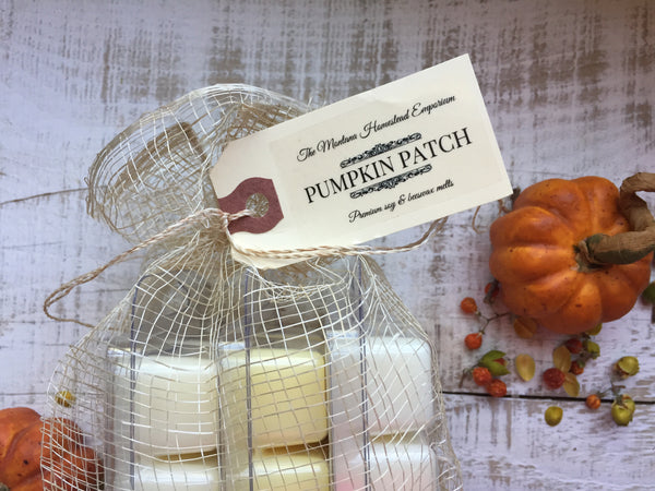 our premium wax melts packaged in a beautiful natural fiber gift bag