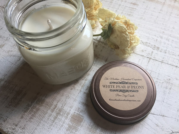white pear and peony scented soy candle