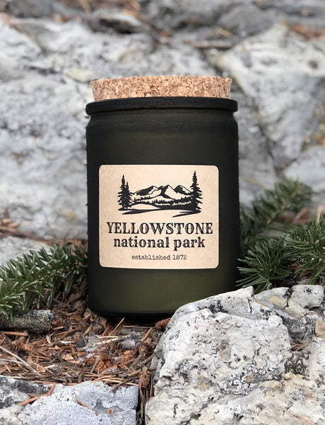 Yellowstone National Park - 12 oz. vintage green glass jar with cork top