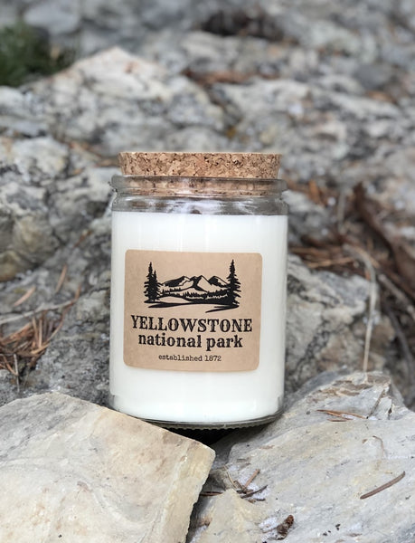 Yellowstone National Park - 12 oz. clear glass jar with cork top