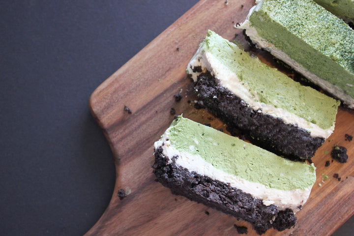 Layered Matcha Cheesecake Slices