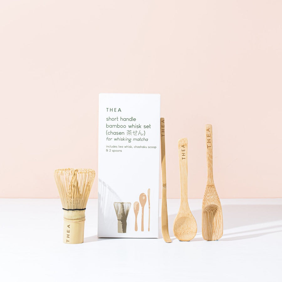 Matcha Whisk Set - short handle whisk with chashuka and spoons - Thea