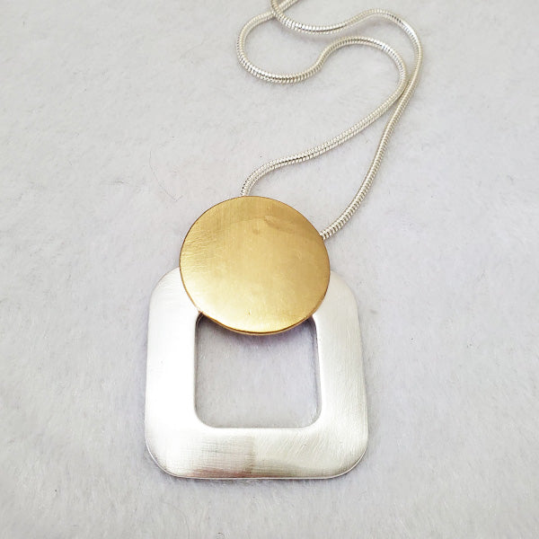 Brushed Satin Geo Pendant Necklace - The Pearl & Stone Jewelry
