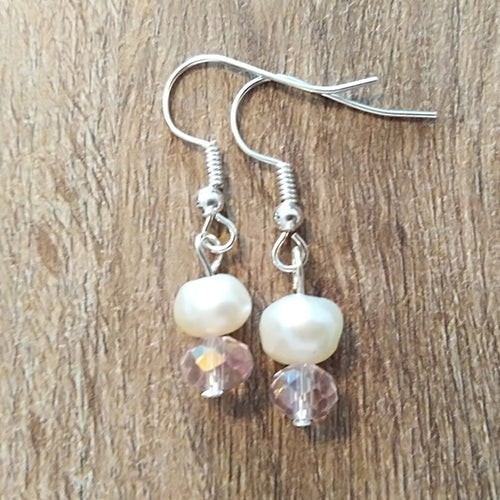Pink Crystal & White Freshwater Pearl Earrings - The Pearl & Stone Jewelry