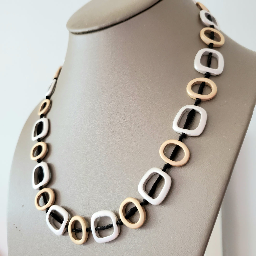 Silver and Gold geo necklace - The Pearl & Stone Jewelry