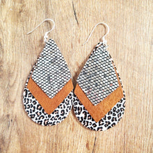 Animal Print and Sparkle Teardrop Earrings