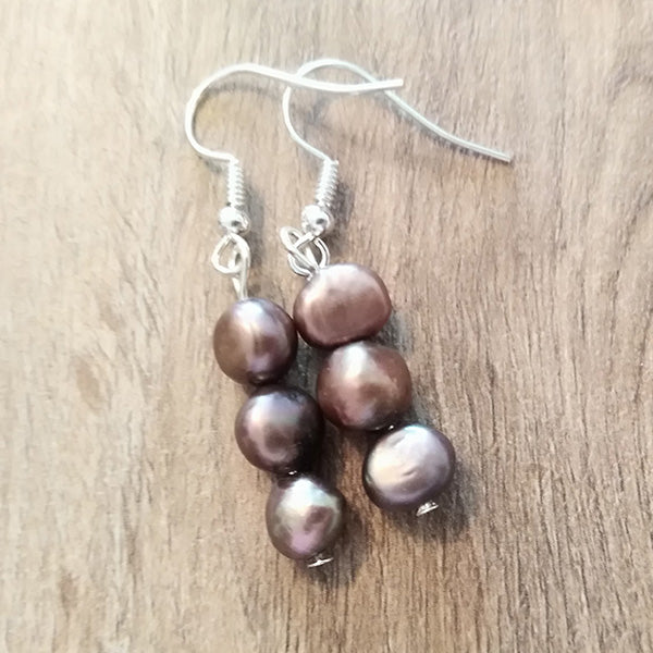 Mocha Brown Freshwater Pearl Earrings - The Pearl & Stone Jewelry