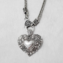 Heart & Lock Clasp Rhodium Necklace