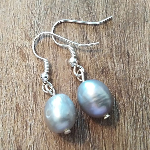 Silver Freshwater Pearl Earrings - The Pearl & Stone Jewelry
