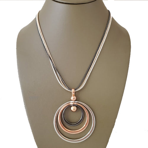 Gyro Spin 3 Tone Pendant Necklace - The Pearl & Stone Jewelry