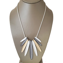 3 Tone Matte Bib Rhodium Necklace - The Pearl & Stone Jewelry