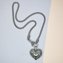 Dora's Heart & Lock Clasp Rhodium Necklace