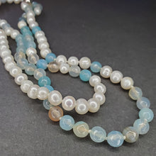 Freshwater Pearl & Sky Blue Agate Necklace