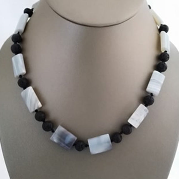 Lava and Striped Agate Necklace - The Pearl & Stone Jewelry
