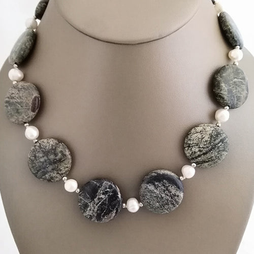 Green Rock Jasper & Freshwater Pearl Necklace - The Pearl & Stone Jewelry