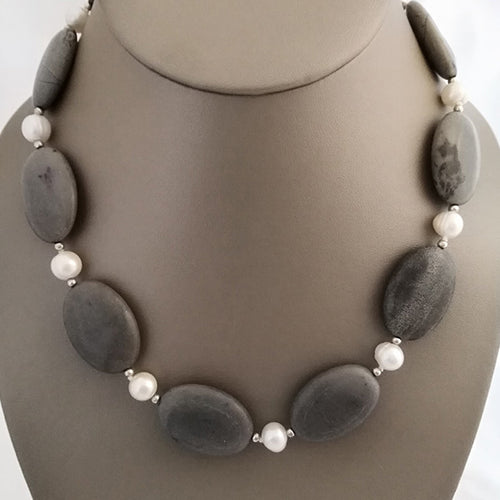 Grey Granite and Freshwater Pearl Necklace - The Pearl & Stone Jewelry