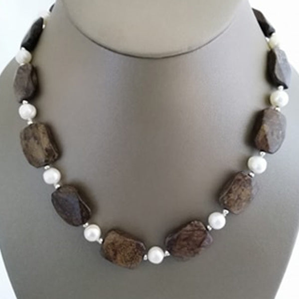 Freshwater Pearl & Tiger Iron Necklace - The Pearl & Stone Jewelry