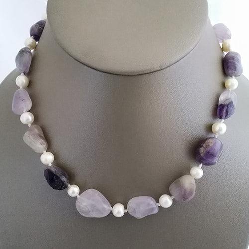 Amethyst Gemstone Pebbles and Freshwater Pearl - The Pearl & Stone Jewelry