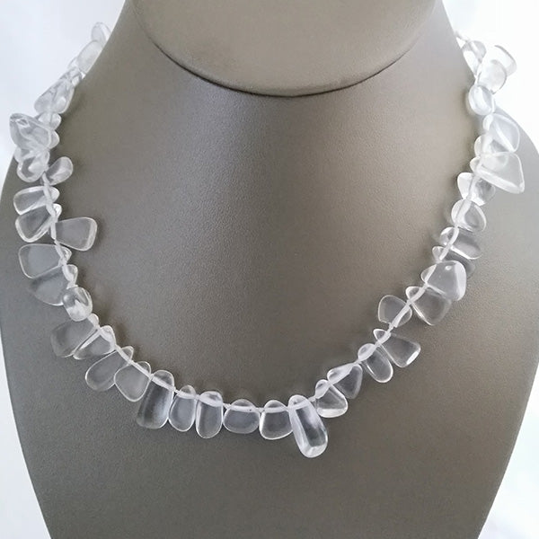 Clear Crystal Quartz Gemstone Pebble Necklace - The Pearl & Stone Jewelry