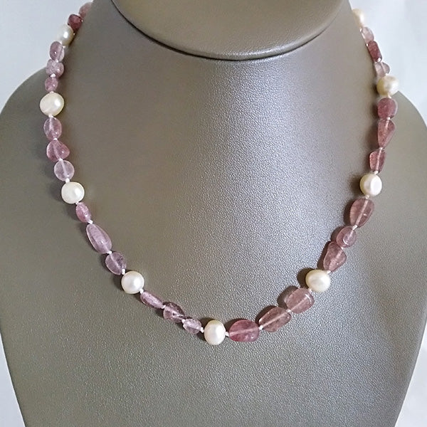 Strawberry Quartz & Freshwater Pearl Necklace - The Pearl & Stone Jewelry