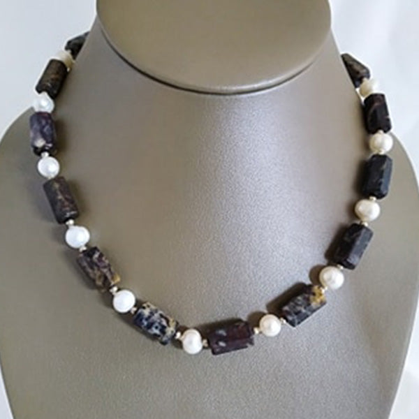 Cylindrical faceted Granite & Freshwater Pearl - The Pearl & Stone Jewelry