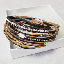 Classic Leather Bling Wrap Bracelet - The Pearl & Stone Jewelry