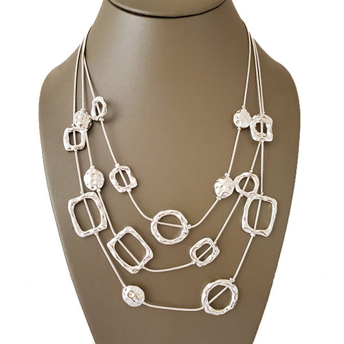 Silver Tone Triple layer Rhodium Necklace - The Pearl & Stone Jewelry