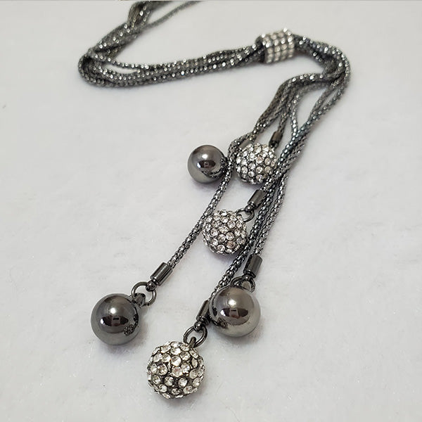 Long Chrome Disco Balls Rhodium Necklace