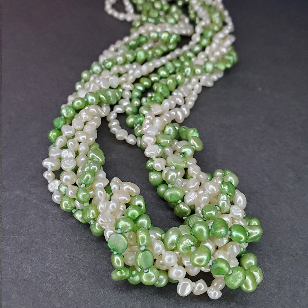 Green & White Freshwater Pearl Necklace