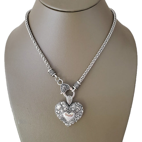 Heart & Lock Clasp Rhodium Necklace - The Pearl & Stone Jewelry