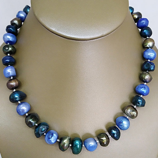 Multi Blue Freshwater Pearl Necklace - The Pearl & Stone Jewelry