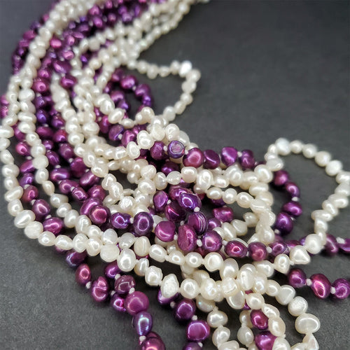 Purple & White Layered Pearls