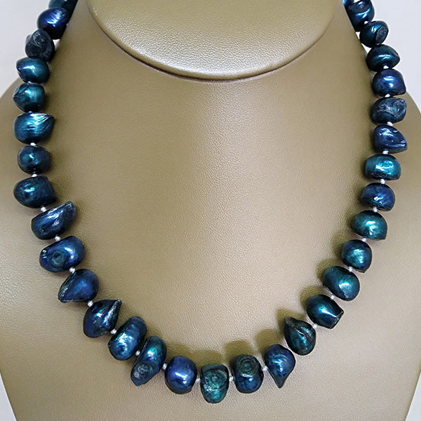 Dark Teal Freshwater Pearl Necklace - The Pearl & Stone Jewelry
