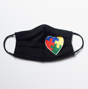 Black Mask With Puzzle Heart for Autism