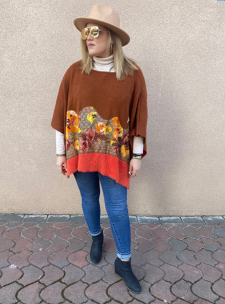 Orange Bloomin Poncho