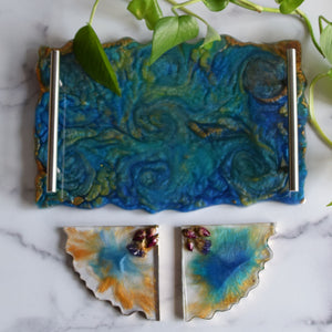 Blue Appetizer's Tray w/2 Coasters