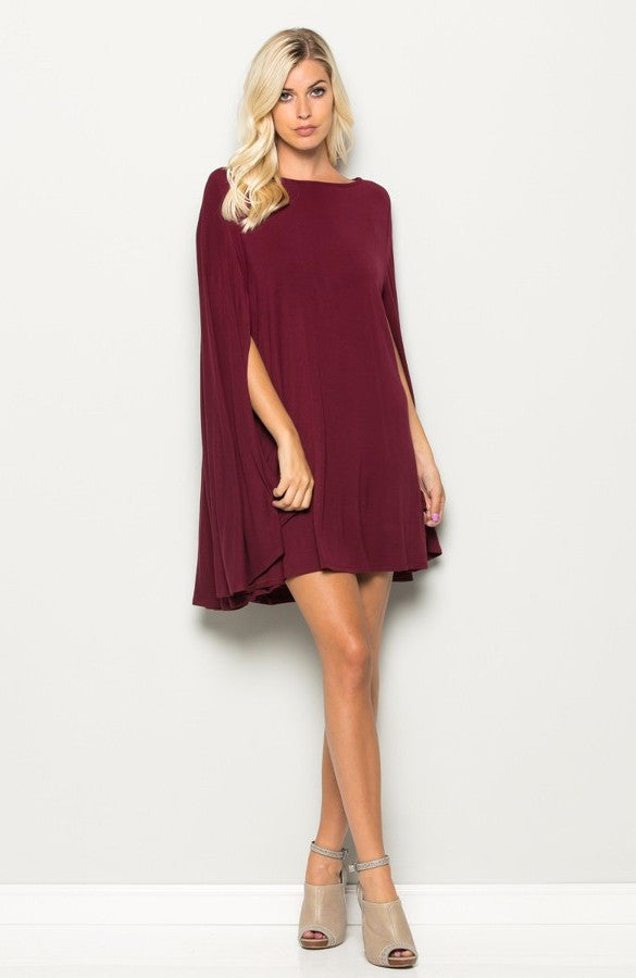 Romance Cape Dress in Burgundy