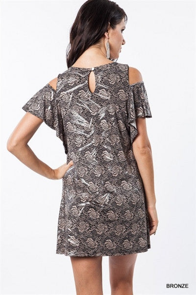 Flora Metallic Shift Dress